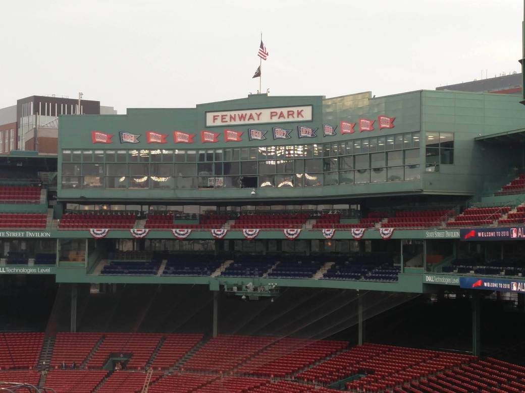 Scoreboard at Fenway Park, showing the years that Boston Red Sox won the World Series
